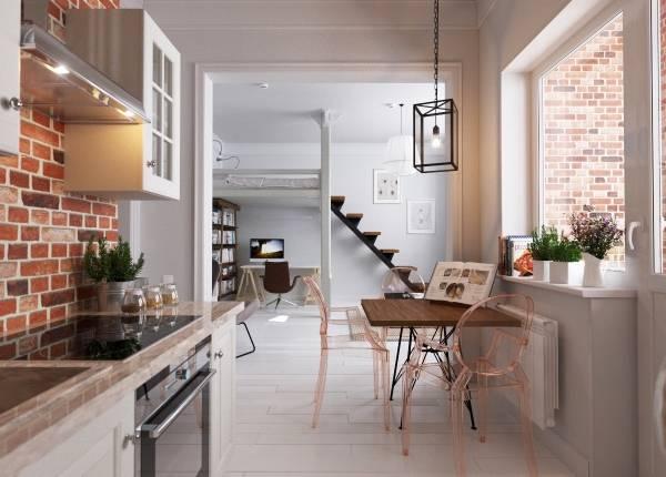 Интерьер кухни с видом на гостиную в однокомнатной квартире