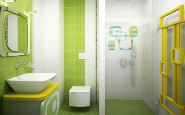 Совмещенный санузел в зеленых тонах и душевой