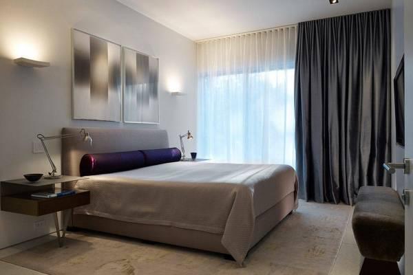 Дизайн штор для спальни - фото новинки в темно-сером цвете