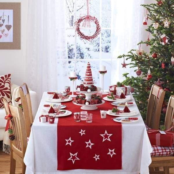 Декор новогоднего стола своими руками в красно-белых цветах