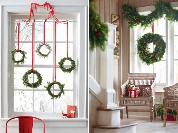 Как красиво украсить окно на Новый год с гирляндами