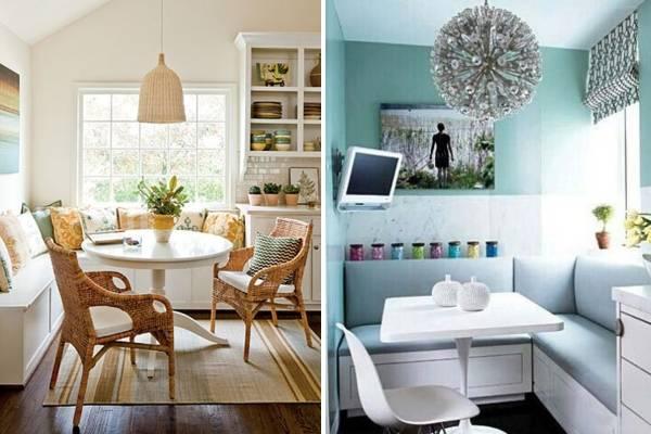 Оформление угловой обеденной зоны на кухне - 30 фото дизайн