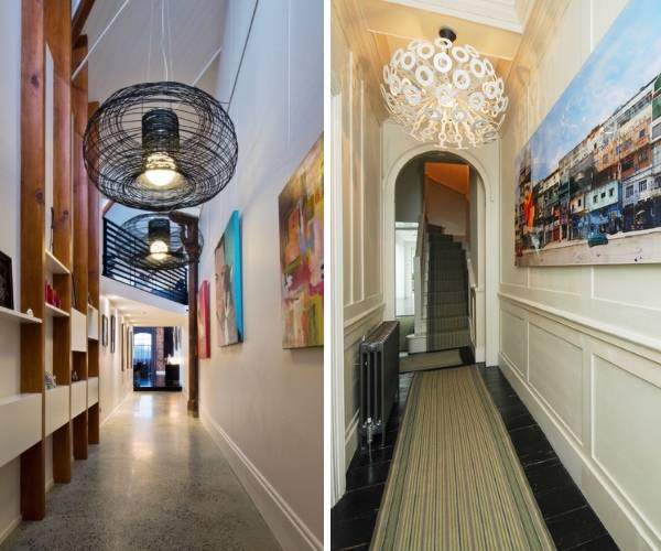 Декор и светильники в узкий коридор - фото интерьера