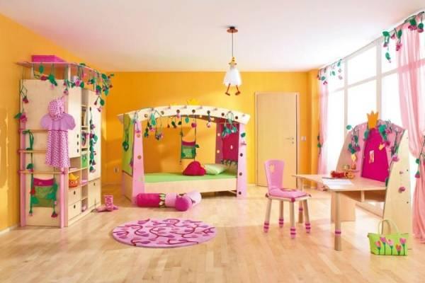 Современные обои для детской комнаты для девочек - фото в интерьере