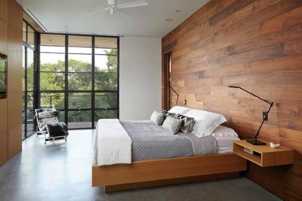 Варианты отделки стен деревом в интерьере спальни