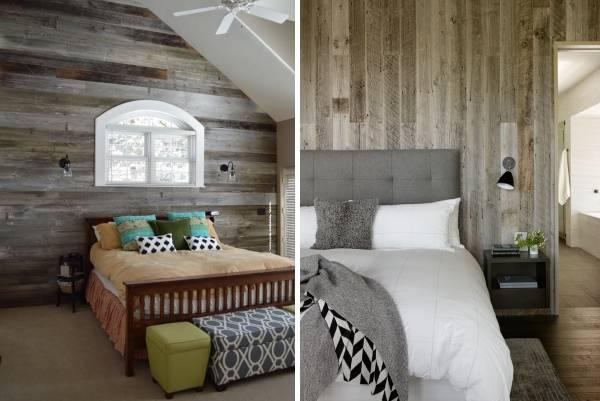 Деревянные стены в интерьере с имитацией старины