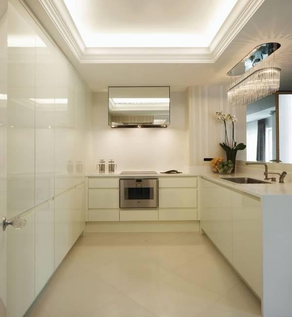 Светодиодная подсветка натяжного потолка на кухне
