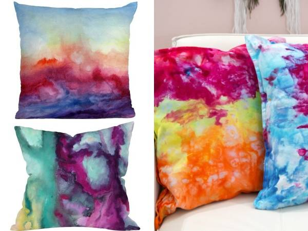 Окрашенные подушки на диван своими руками - фото с инструкцией