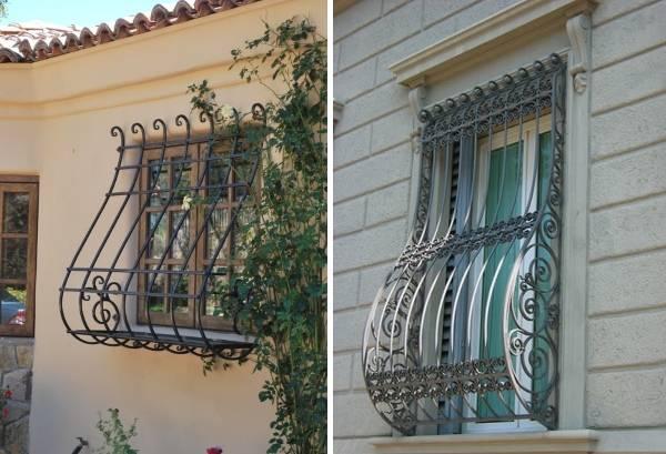Кованые решетки на окна - фото в декоре фасадов частных домов