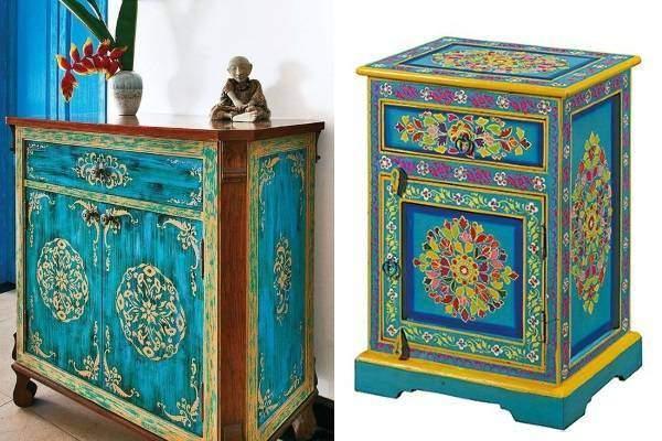 Индийская мебель с ручной росписью через трафарет
