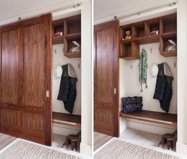Шкаф в прихожую - фото дизайн в нише