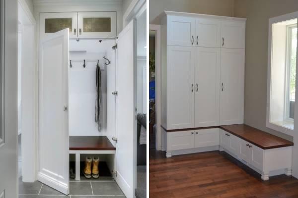 Дизайн шкафов в прихожую со скамьей и полками для обуви