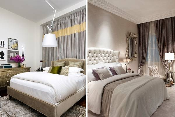 Гламурные металлик шторы для спальни - фото дизайн 2016 года