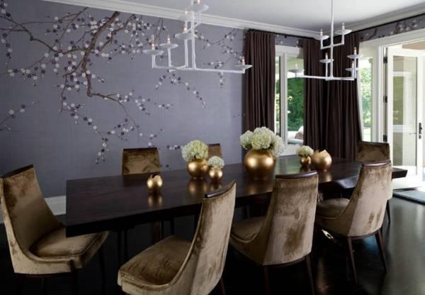 Сочетание цветов в интерьере - шторы и обои похожих тонов