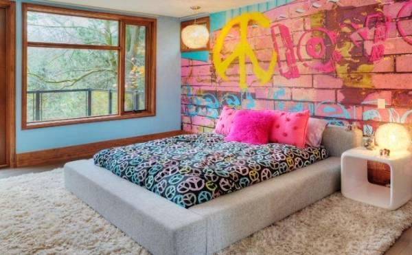 Обои для спальни подростка девочки в стиле лофт или урбан