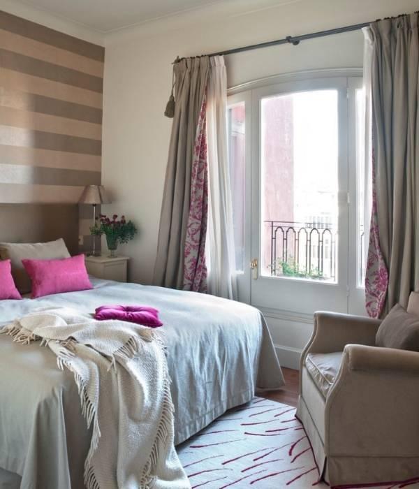 Двойные шторы для спальни - фото дизайн 2016 года