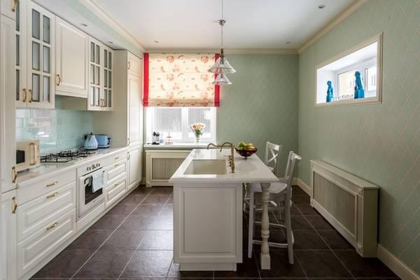 Какие римские шторы подойдут к зеленым обоям - фото кухни