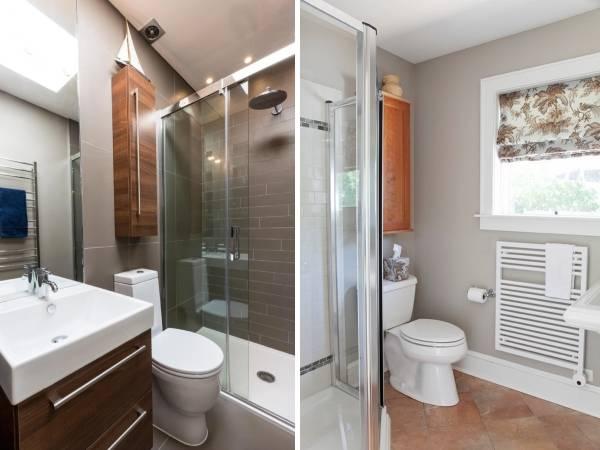Совмещенный санузел - фото со шкафчиком над туалетом