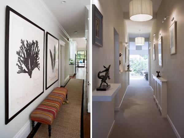 Красивый дизайн узкого коридора в светлых тонах