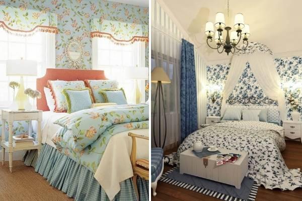 Шторы в стиле прованс для спальни - фото в сочетании с обоями