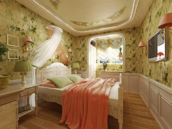 Сочетание цветов в интерьере спальни прованс - шторы и обои