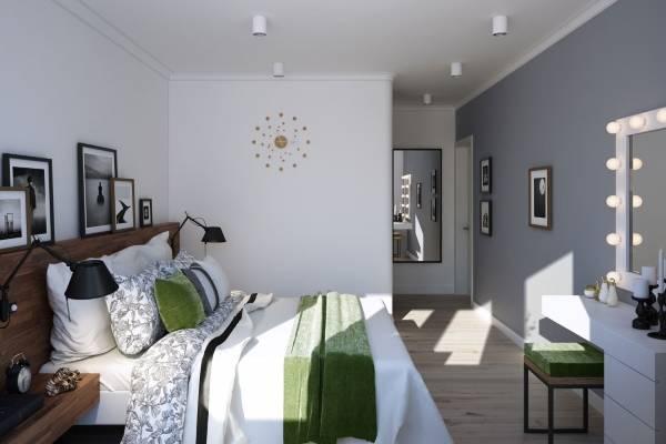 Дизайн спальни в двухкомнатной квартире в скандинавском стиле