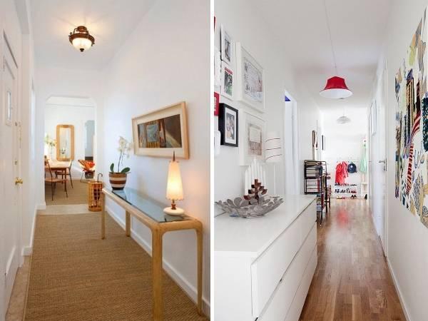 Дизайн узкого коридора в квартире - фото стола и декора