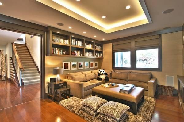 Подсветка многоуровневого потолка светодиодной лентой в гостиной