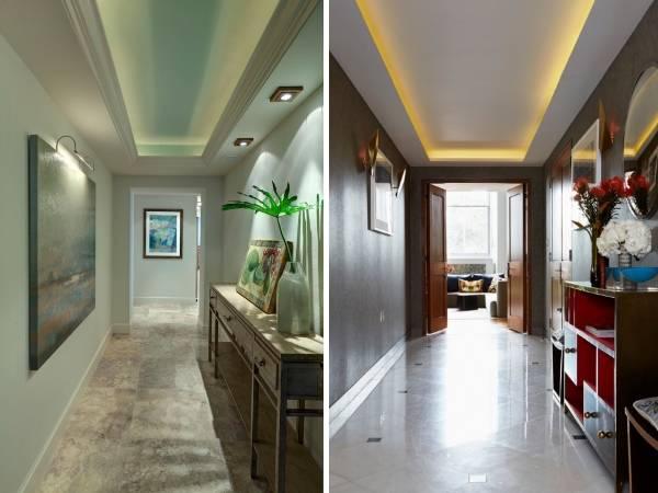 Потолки с подсветкой светодиодной - фото в прихожей