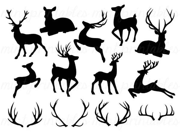Трафареты для украшения окон к Новому году - олени