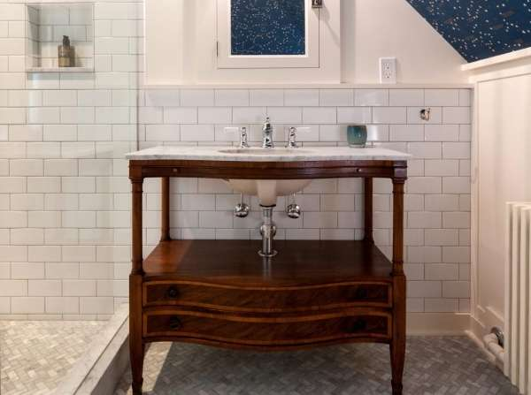 Тумба под встраиваемую раковину со столешницей в ванную