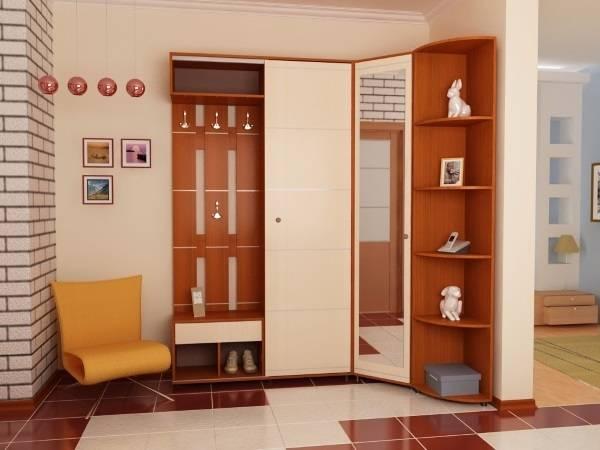 Красивый угловой шкаф в прихожую с зеркалом на дверце