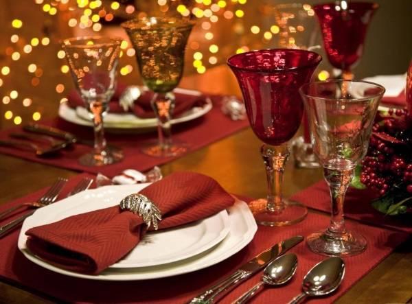 Украшение новогоднего стола 2017 - бокалы, тарелка и общая сервировка