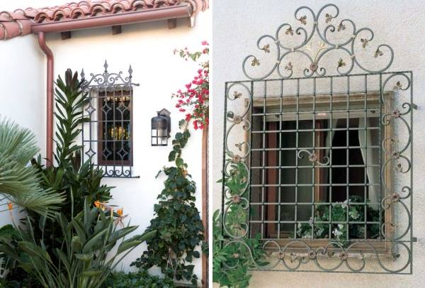 Декоративные решетки на окна - фото фасада дома