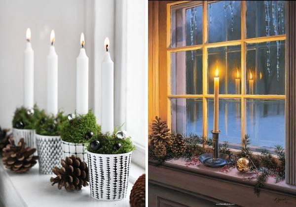 Оформление подоконника на Новый год - свечи и шишки