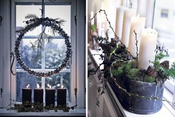Новогоднее украшение окон - фото с природными материалами