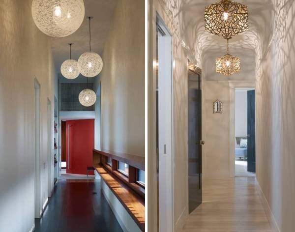 Подвесные светильники в узкий коридор - фото интерьера