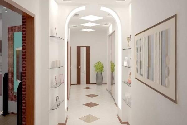 Идеи дизайна узкого коридора - настенные полки