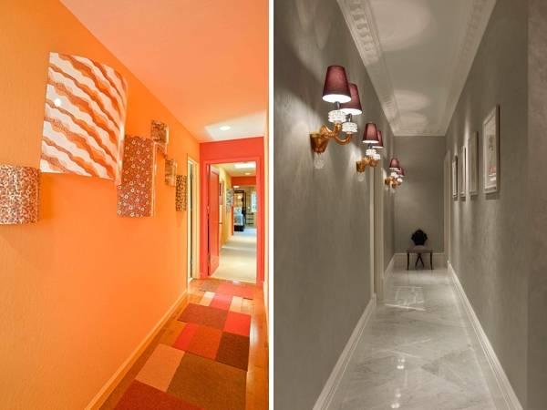 Настенные светильники в дизайне узкого коридора в квартире