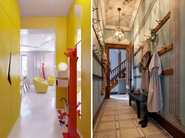 Необычная мебель, вешалки и обои для узкого коридора
