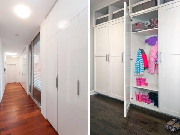 Встроенные шкафы в прихожей - фото в белом цвете