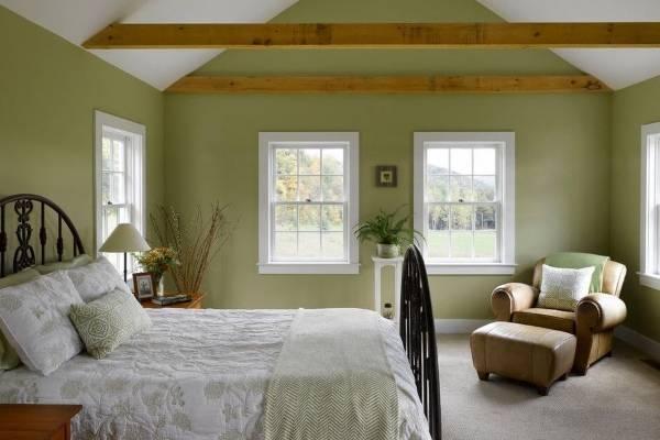 Дизайн спальни в стиле прованс - фото в зеленом цвете