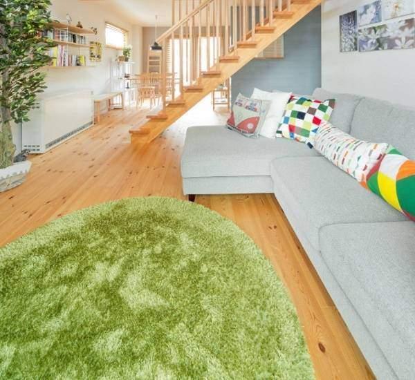 Овальные ковры на пол - фото зеленого цвета