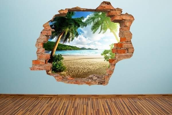 3D наклейки на стены в интерьере