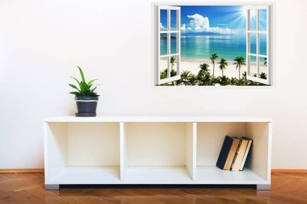 3D наклейки в интерьере - фото на стене в гостиной