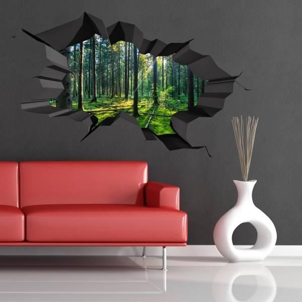 3Д наклейки на обои - необычный декор стен фото