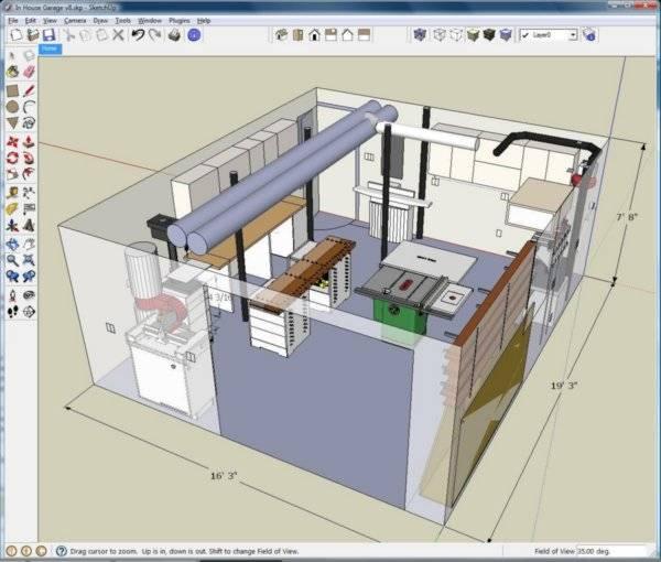 Окно программы для дизайна интерьера sketchup