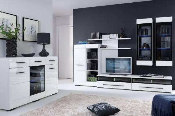 Современная мебель для гостиной - белый глянец на черном фоне