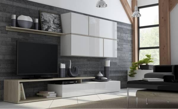 Глянцевая белая мебель для зала с деревянными вставками