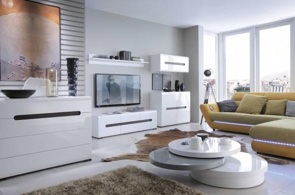 Белая модульная мебель для гостиной в современной стиле